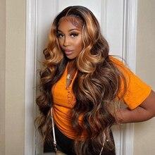 Perruque Lace Front Wig Body Wave brésilienne, cheveux naturels, ombré, blond miel, à reflets, 30 pouces, pour femmes africaines