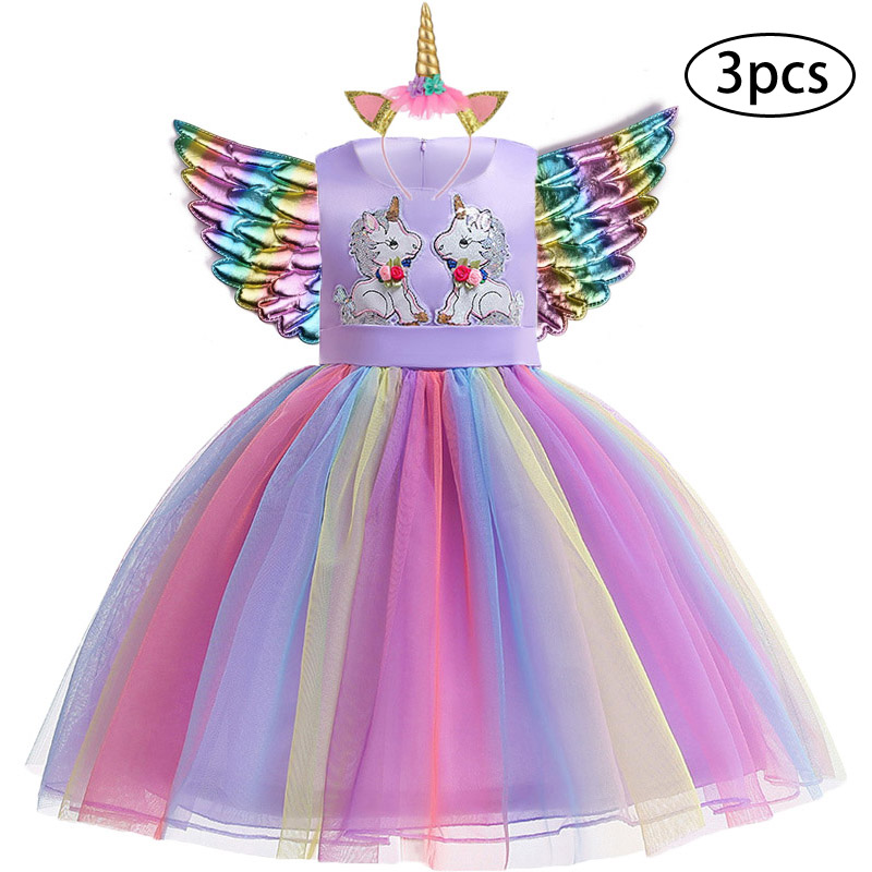 H19298932a81349ff9c564e2e322c6f5ch New Girls Dress 3Pcs Kids Dresses For Girl Unicorn Party Dress Christmas Carnival Costume Child Princess Dress 3 5 6 8 9 10 Year