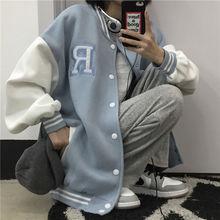 Пальто на весну-осень, американская бейсбольная куртка-бомбер свободная одежда с принтом буквы «R» для мужчин и женщин, пар Топы Harajuku размер...