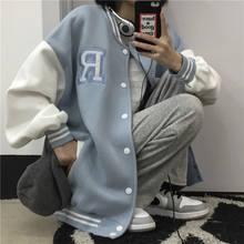 Primavera outono casaco de beisebol americano bombardeiro jaqueta solta letra r homens mulheres casais topos harajuku plus size jaquetas streetwear