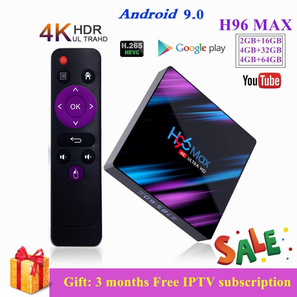 H96 MAX Android 9.0 TV Box 4G 64G RK3318 4 Core 2,4G/5G Wifi BT 4,0 4K HD Set Top Box H96max 4G 32G Netflix IPTV TV Spielen