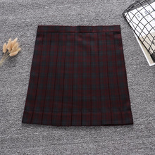 Candy Dark red black color geometric lattice Pleated skirt + Bow Tie (Adjust waist. Pocket)