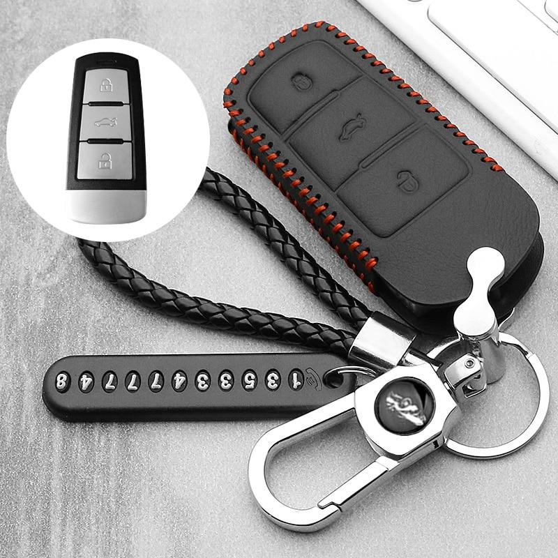3 кнопки Кожаный Автомобильный Брелок дистанционного управления с ключом, чехол накладка для VOLKSWAGEN CC Passat B6 3C B7, защита для кожи|Футляр для автомобильного ключа|   | АлиЭкспресс