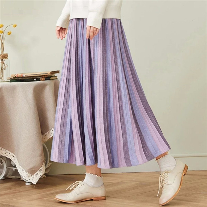 Elegant Pink Purple High Waist Pleated Skirt Women Knitted Chic Long Skirt Fashion Casual Splice A-line Students Midi Skirt