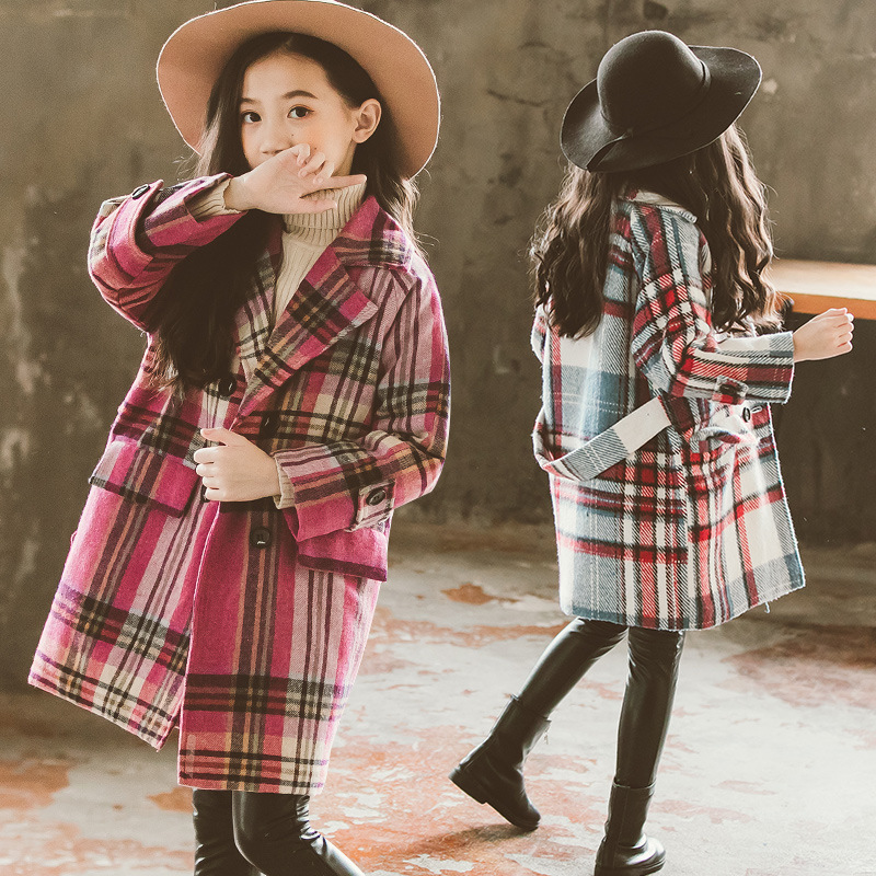 Girls Wool Coat Girls Clothes FLeece Thick Overcoat Kids Jacket for Girls Winter Coat Outerwear Children Clothing 4-15 years