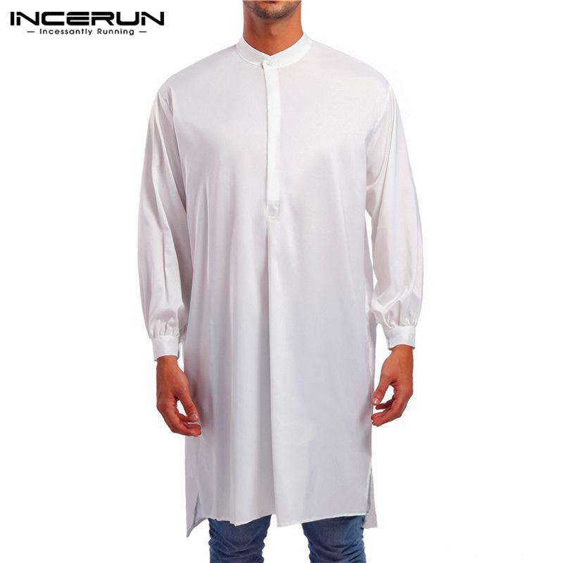 Men Jubba Thobe Long Sleeve Dress Solid Color Saudi Arabia Muslim Abaya Pakistan Robe Arabic Islamic Kaftan Men Clothing INCERUN