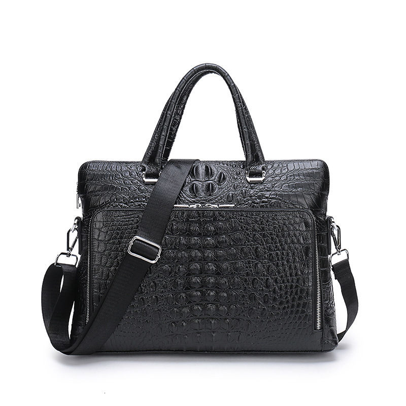 2019 Laptop Business Briefcase Crocodile Genuine Leather Men Handbag 14 Inches Men's Notebook Computer Portable Office Bag