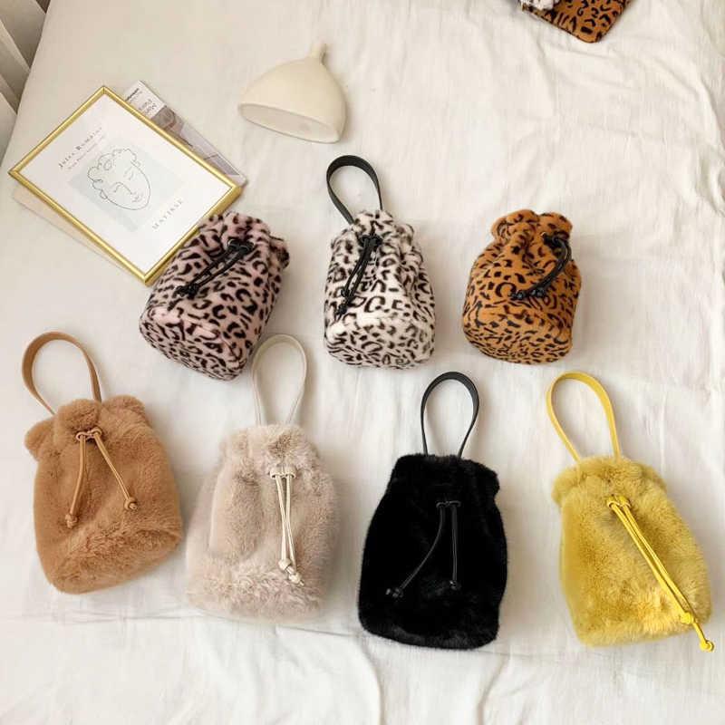 Новинка 2019, зимняя женская сумка из искусственного меха на шнурке, мини сумка через плечо из искусственного кроличьего меха, Корейская леопардовая мохеровая женская сумка