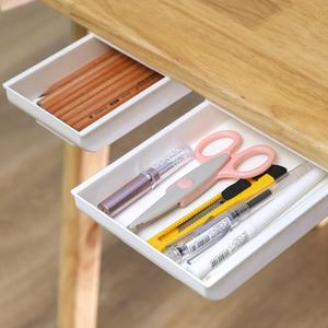 Storage Drawer Punch-free Self Stick Pencil Tray Desk Table Organizer Box Under Desk Stand Brush Finishing Box