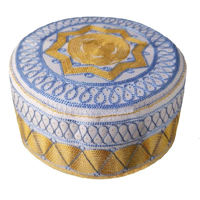 Men Round Caps India Muslim Turban Trendy Cotton Embroidery Arab Prayer Hat Man Hijab Bonnet Saudi Arabian Hats Jewish Topi Kufi