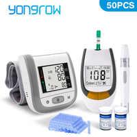Yongrow Misuratore di Glucosio Nel Sangue 50PCS Strisce Reattive e Le Lancette e Medico Digitale Automatico di Pressione Sanguigna del Polso Monitor di assistenza sanitaria