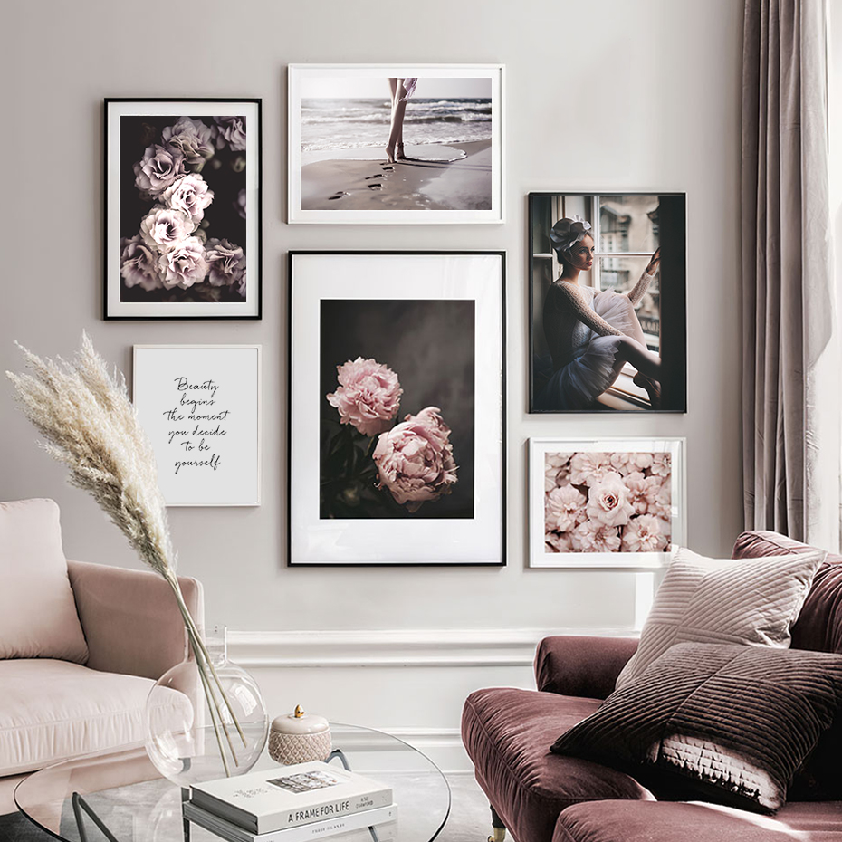Pink Peony Floral Wall Art Pictures Beauty Quotes Canvas Painting Gallery Poster Print Interior Living Room Home Decor No Frame
