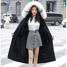 2019 Winter Jacket Women Vintage Solid Outerwear Woman Parka Coat 2019 Fashion Pockets Tunic Lace Up Fur Cap Long Jacket Top 3XL(China)