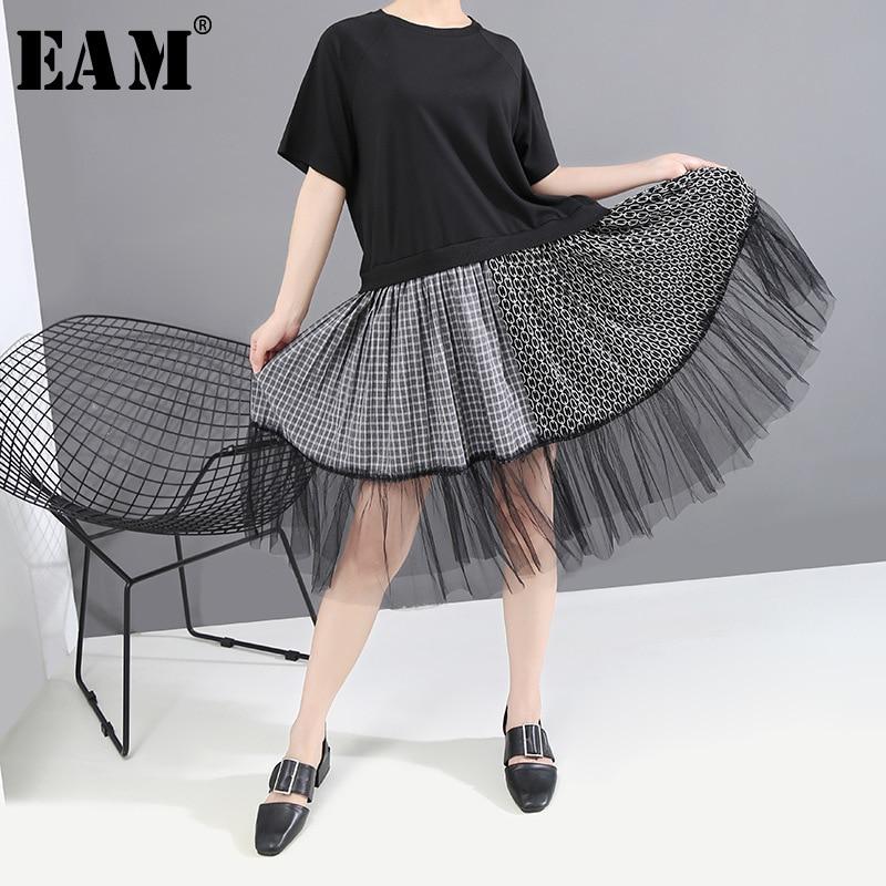 [EAM] Women Black Mesh Split Joint Temperament Dress New Round Neck Short Sleeve Loose Fit Fashion Tide Spring Summer 2020 1T650