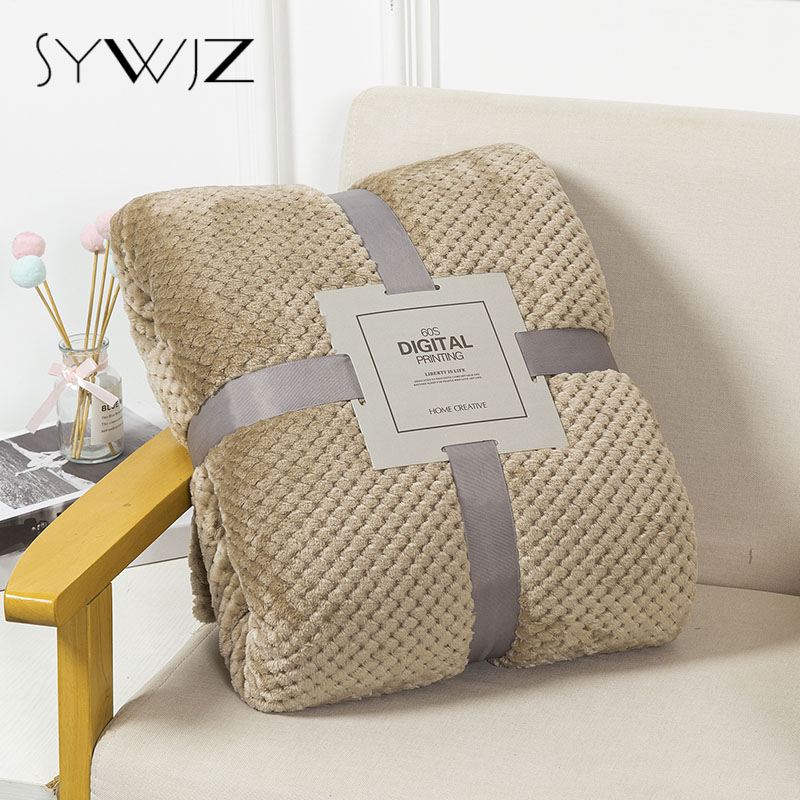 Solid Soft Warm Fleece Plaid Blankets and Bedspreads Living Room Bedroom Air Conditioning Bed Blanket For Sofa Bedding Mantas