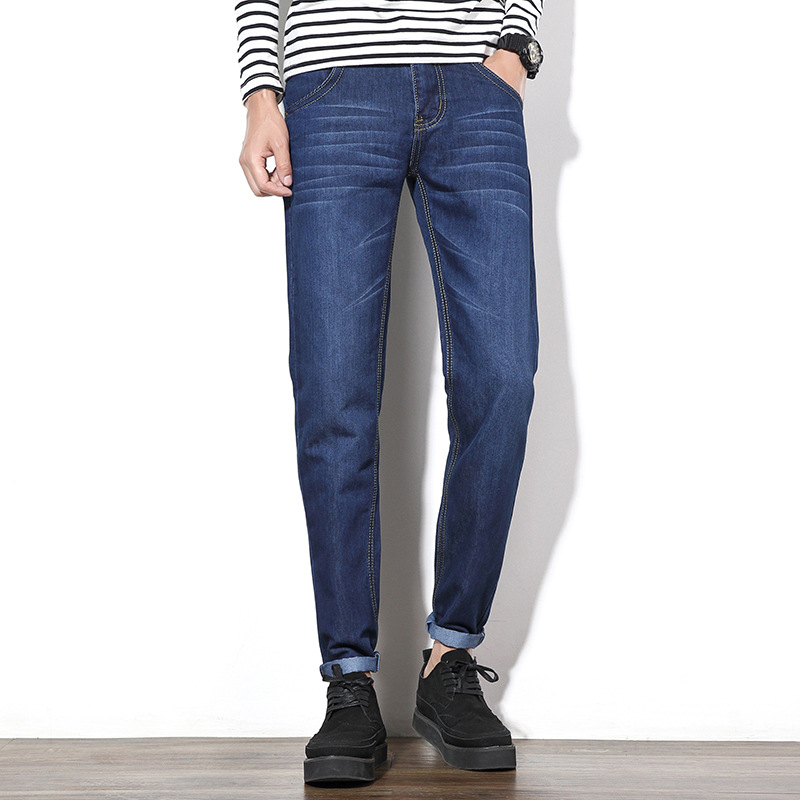 Men Plus-sized Straight-Cut Jeans Washing Cat Whisker Cotton Trousers Youth Middle-aged Fashion Four Seasons Paragraph Men's