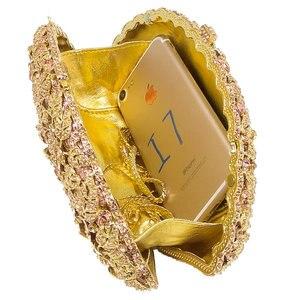 Image 5 - ブティックデfgg眩しいシャンパン花クリスタルクラッチイブニング財布バッグ女性フォーマルなディナーバッグウェディング財布