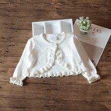 Свитер-кардиган для маленьких девочек белая куртка с длинными рукавами хлопковая верхняя одежда пальто для маленьких девочек, От 1 до 2 лет одежда для малышей RKC185056
