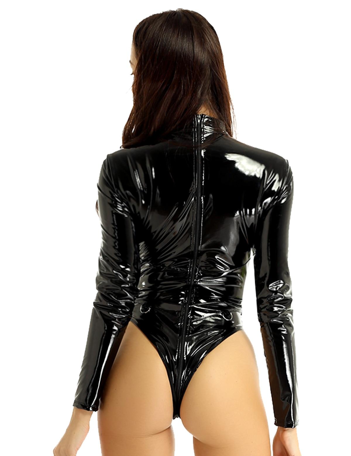 Image 3 - MSemis Women Wetlook Patent Leather Lingerie Body Sexy Catsuit High Collar Double Zipper Open Crotch Leotard Bodysuit NightwearTeddies & Bodysuits   -