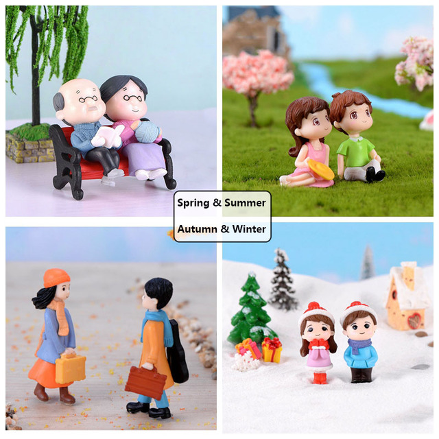 3Pc Figures Chair Grandma Grandpa Sweety Lovers Couple Ornament For Fairy Garden Figurines Miniature Christmas Home Decoration 4