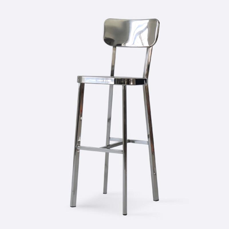 Designer Backrest Bar Chair Metal Bar High Chair Stainless Steel Polished Bar Stool Magis Barstool