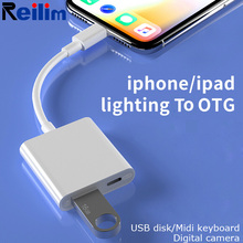 usb otg adapter for iphone ios 13 connector piano midi keyboard connecter with charging port for lightning ipad converter USB OTG adapter for iphone ios 13 connector Piano MIDI keyboard connecter with charging port for lightning iPad Converter