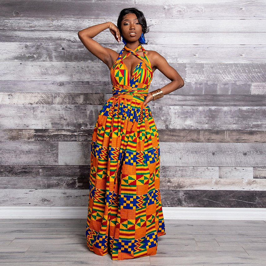 Fashion Elastic Maxi Dress 2020 News Long Robe African Dresses For Women Bazin Riche Clothes Vestidos Dashiki Party Vacation