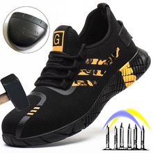 Male Indestructible Work Shoes Sneakers Men Boots Anti-puncture Safety Shoes Men Anti-smash Work Boots Steel Toe Shoes Footwear