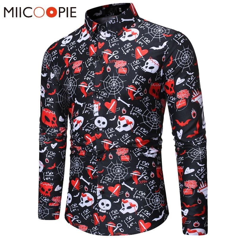New Lovely Funny Skulls Printed Men Shirt Dress Long Sleeve Turn-down Collar Camisas Hombre Slim Fit Streetwear Hawaiian Shirts