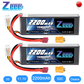 цена на 2units Zeee LiPo Battery 11.1V 3S 2200mAh 50C for RC Car with Deans Plug XT60 Connector For RC Helicopter Drone Boat Airplane