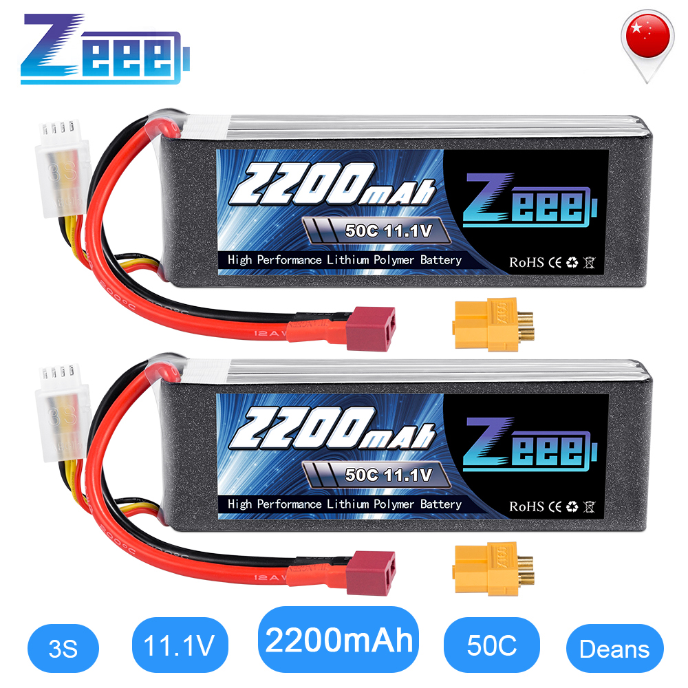 2units Zeee <font><b>LiPo</b></font> Battery 11.1V <font><b>3S</b></font> <font><b>2200mAh</b></font> 50C for RC Car with Deans Plug XT60 Connector For RC Helicopter Drone Boat Airplane image