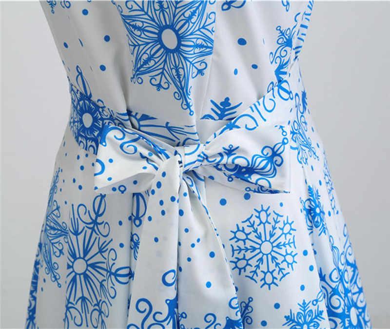 חורף חג המולד שמלת נשים אופנה בציר O-צוואר הדפסה קצר שרוול שמלת חגיגי לשנה חדשה שמלת 2019 הגעה חדשה 5