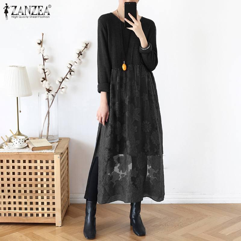2020 Spring Long Sleeve Kaftan Dress ZANZEA Women Lace Pacthwork Sundress Casual Mesh Long Vestido Plus Size Vintage Dresses
