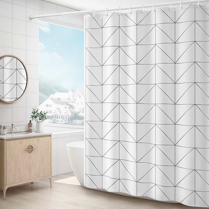 Shower Curtain Waterproof Toilet Break Bath Curtain Bar Set Bath Curtain No Hole Bath Cloth Shower Room Decoration Accessories