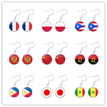 National Flag Drop Earrings France Poland Puerto Rico Montenegro China Angola Senegal Philippines Japan Jewelry For Women Gift(China)