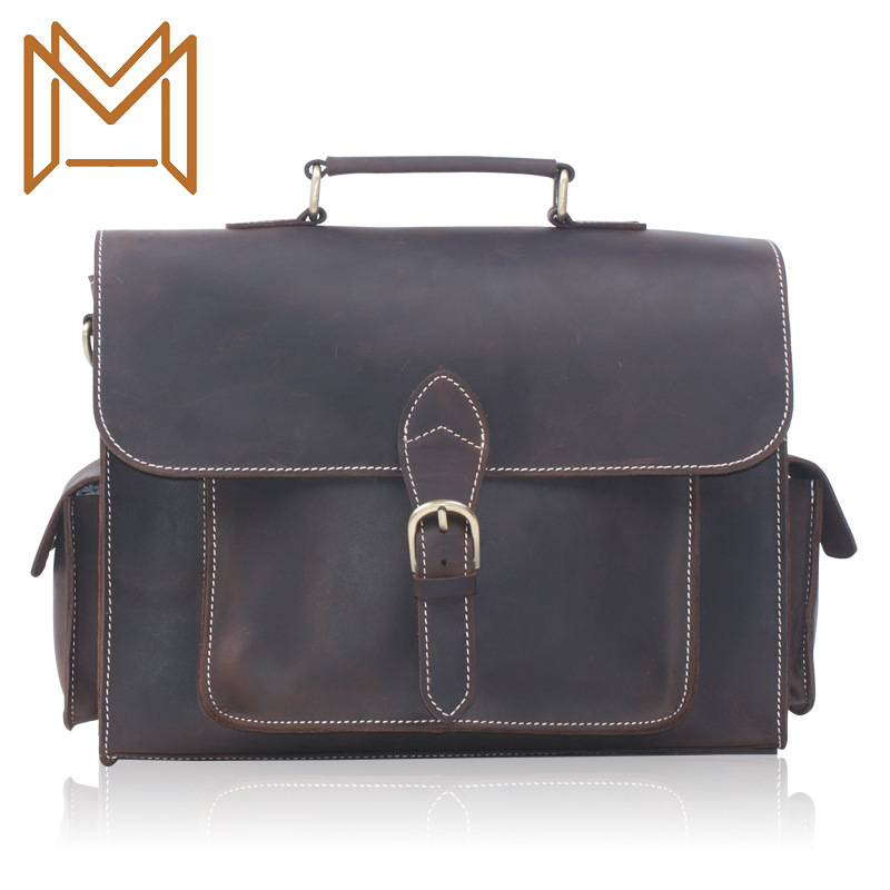 Mad Horsehide Capacity Portable Male Layer Cowhide Briefcase Single Shoulder Span Package