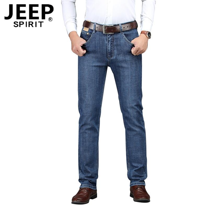 JEEP SPIRIT Autumn Jeans Men Casual Straight Mid-waist Denim Pant Men Plus Size 30-44 Elastic Denim Trousers Men