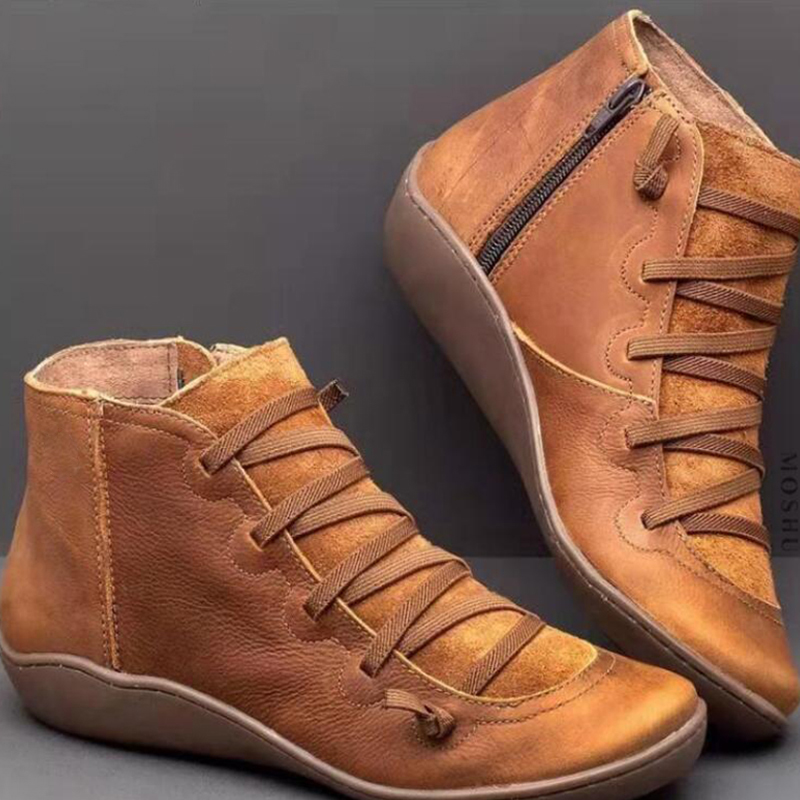 Winter-Snow-Boots-Women-Genuine-Leather-Ankle-Boots-Lace-Up-Shoes-Woman-Flat-Short-Brown-Boots (1)