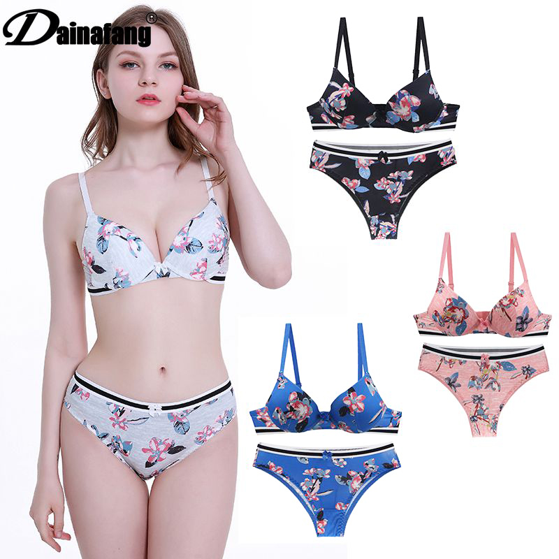 Dainafang Sexy High-End Luxury Push Up Bra Sets  36 38 40 42 ABCDE Lingerie Set Cotton G-string Bars Pants Underwear