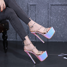 Купить с кэшбэком 2020 Design peep Toe Buckle Platforms Women Sandals Transparent shoes Super High Heels Summer Night Club Shoes Woman LJA918