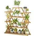 Балконная подставка для цветов  стойка для дома  полка для цветочных горшков  цельная деревянная декоративная сетчатая зеленая Цветочная п...