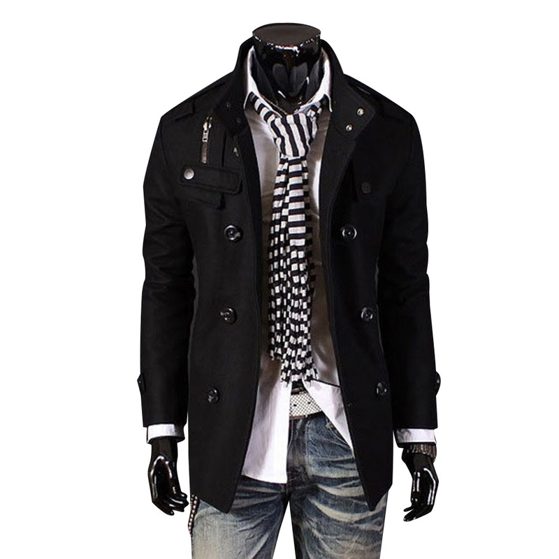 New Mens   Trench   Coat Jacket Overcoat England Style Solid Slim Button Double Breasted Windbreaker Outwear Male Coat Long Sleeve