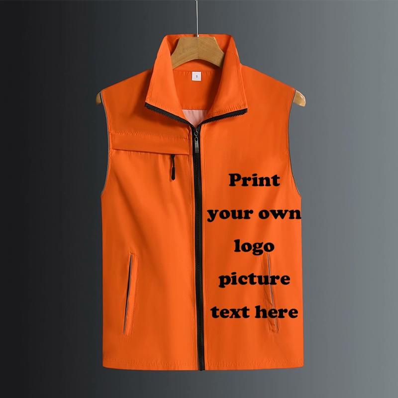 Custom design kamizelka z nadrukowanym zdjęciem logo tekst kamizelka okazjonalna odzież męska i damska kombinezon kurtka z kompletu topy