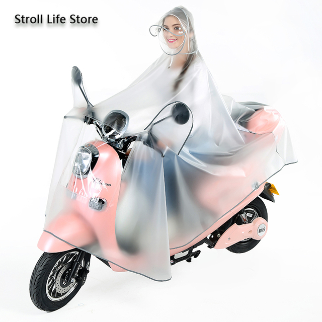 Electric Motorcycle Clear Rain Coat Women Poncho Bicycle Thickened Riding Transparent Raincoat Plastic Suit Impermeable Gift