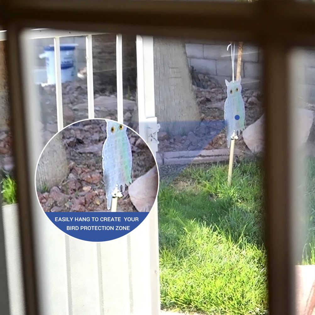 2 PC Perlengkapan Taman Palsu Burung Hantu Gantung Reflektif Orang-orangan Sawah Takut Burung Merpati Burung Pelatuk Anti Burung