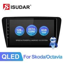Rádio automático do ruído dos multimédios do carro de isudar v72 4g android 1 para skoda/octavia 2014-gps 8 núcleo ram 6gb rom 128gb 1080p câmera dvr dsp
