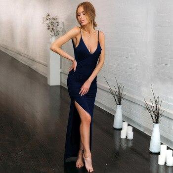 Summer party sexy club V-neck sexy slim open back slit suspender dress sleeveless dress short designer new good