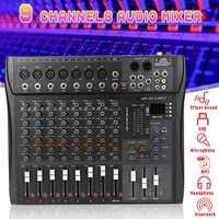 LEORY Professional 9 Channel Console Studio Audio Mixer USB bluetooth DJ Sound Mixing for Family KTV Campus Speech Meeting