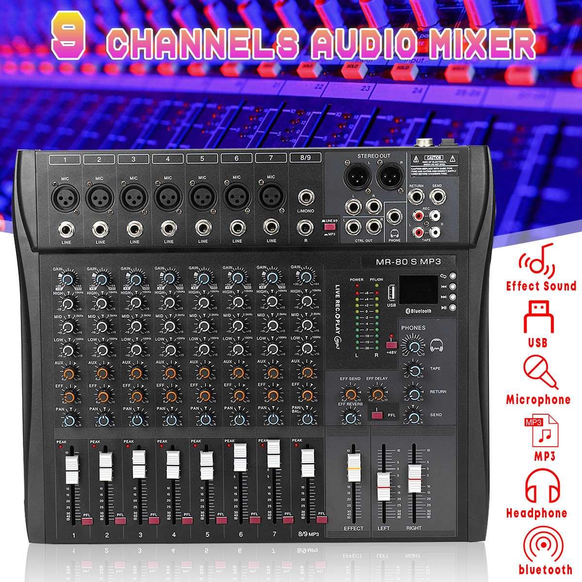 LEORY professionnel 9 canaux Console Studio Audio mélangeur USB bluetooth DJ son mélange pour famille KTV Campus discours réunion