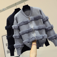 Chic Rabbit  Fur Patchwork Warm Knitted Jacket Jersey For Women Zipper Design Sweaters Cardigan New Elegant Female Knitting Coat